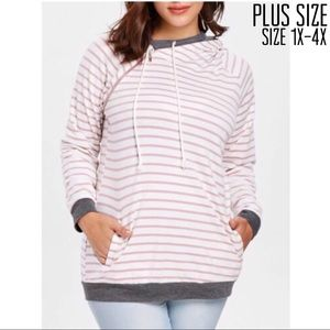 Tops - Plus Size Zipper Embellished Hoodie